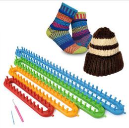 Wholesale Knitter Loom - Long Knitting Looms DIY Scarf Shawl Hat Socks Knitter Plastic Knifty Long Knitting Loom Set 4 Sizes Set OOA2262