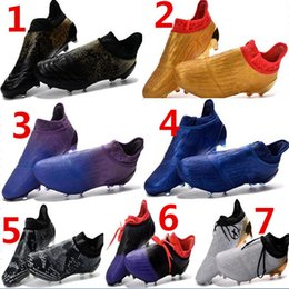 Wholesale Cheap Mens Rubber Fashion Boots - 2017 mens fashion waterproof accelerator speed of light ace 16+ Purechaos FG AG Soccer shoes Laceless Cleats Cheap Football boots 39-45