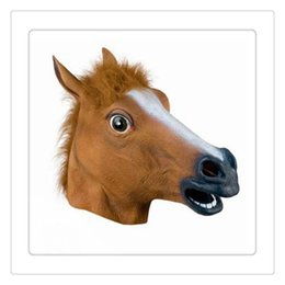 Wholesale Theater Latex Masks - Party Horse Head Masks Latex Mask Halloween Costume Theater Prop Novelty Latex Rubber Creepy Party Costume Decorations Free Shipping