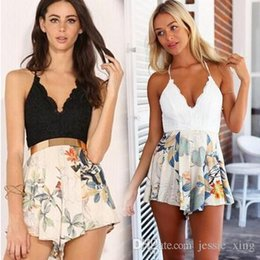 Wholesale Backless Halter Bodysuit - 2017 New V -Neck Halter Strap Short Culottes Bodysuit Summer Style Sexy Women Beachwear Jumpsuits Sexy Lace Printing Backless Cross Playsuit