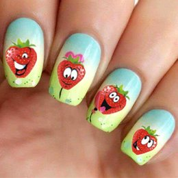 Wholesale Strawberry Beauty - 1 sheet Water Transfer Nail Art Stickers Funny Strawberry Design DIY Beauty Decorations Nails Wraps Manicure Decals ST06