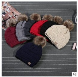 Wholesale Luxury Garden Wholesale - CC Trendy Winter Knitted Fur Poms Beanie Unisex beanie Label Fedora Luxury Cable Slouchy Caps Leisure Beanies Outdoor Hats Valentine's Gifts