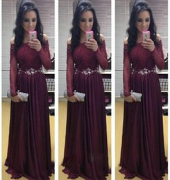 Wholesale Maroon Chiffon - Maroon Off The Shoulder Evening Dresses With Long Sleeves A Line Lace Satin Formal Prom Gowns Custom Made Cheap