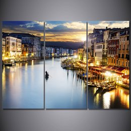 Discount city picture frame - 3 Pcs Set Framed HD Printed City Boat Lake Picture Wall Art Canvas Print Decor Poster Canvas Modern Oil Painting