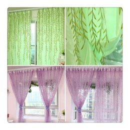 Wholesale Living Room Valance Curtains - 2017 Hot Comemall Tulle CatkinsDoor Balcony Sheer Curtains Willow Pattern Voile Sheer Scarfs Window Screens Valance For Bed Living Room