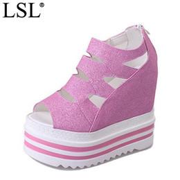 Wholesale Bling Platform Heels - LANSHULAN 2017 New Peep Toe Women Sandals Platform Wedges Height Increasing Bling Summer Boots Causal Women Pumps PU