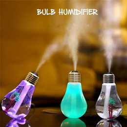 Wholesale Auto Led Mini Light Bulb - Creative Bottle bulb USB LED light humidifier car Aromatherapy Mist Maker Home Office Mini Aroma Diffuser Air Purifier Auto change color DHL