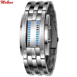 Wholesale Tungsten Digital Watch - Wholesale- New Technology Binary Watch Stainless Steel Date Digital LED Bracelet Sport Watches montre femme