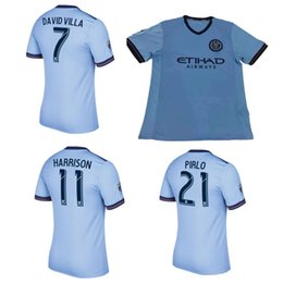 Wholesale Men Mixed Shirt - MLS 2017 NYCFC New York City FC Soccer Jerseys PIRLO MIX DAVID VILLA LAMPARD Away Blue Maillot De Foot 2017 football shirts