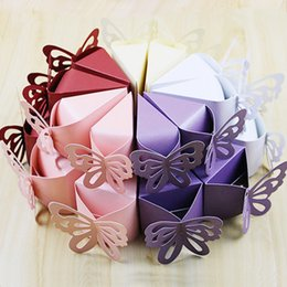 Wholesale Pearly Whites - Candy Box Creative European Pearly-Lustre Gift Wedding Box Butterfly Red Purple Pink White Champane Decorative Gift Boxes