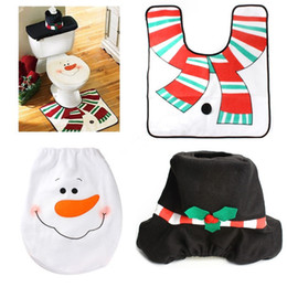 Wholesale Cheap Xmas Trees - Wholesale-Christmas Decorations Happy Santa Toilet Seat Cover & Rug Bathroom Set Snowman product new year decor Xmas ornaments cheap