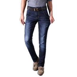 Wholesale High Priced Men S Fashion - Wholesale- Fashion Winter Men's Slim Fit Jeans Dark Blue High Quality Stretch Casual Denim Pants Long Trousers Special Offer Price