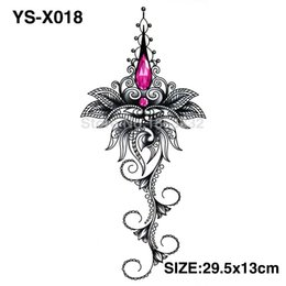 Wholesale Temporary Tattoo Sticker Flowers - Wholesale- YS-X018 3D DIY Chest Flowers Fall BIG Tattoo Stickers Colorful Hot Flashes Waterproof Tatoo Body Art Temporary TATTOO Sticker