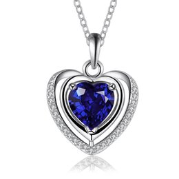 "Wholesale Heart Shaped Platinum Pendant - New Arrival! Classic Style Fashionable Platinum Plated Color ""Romantic Heart-Shape Denpant Necklace"" Global Free Shipping LKN18KRGPN886-C"