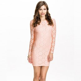 Wholesale Tight Long Asymmetrical Dresses - Long sleeved hip tight collar lace embroidered dress sexy lace dress
