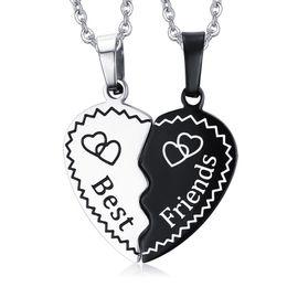 Wholesale Love Bijoux - Meaeguet Trendy Bijoux Heart Collier Pendant Necklace Stainless Steel Chain Statement Necklace Best Friend Forever Kolye Jewelry PBF-002
