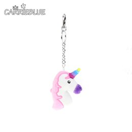 Wholesale Metal Chains For Bags Wholesale - 2017 New novelty mini keychain Unicorn donut key chain key ring gift for children girls cute emoji pendant bag charm KY08