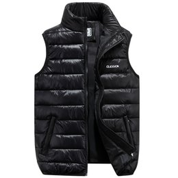 Wholesale Men Warm Vest - 2017 Winter Brand Mens Down Casual Vest Designer Down Dress Vests Homme Fashion Thick Warm Sleeveless Jacket For Men Plus Size
