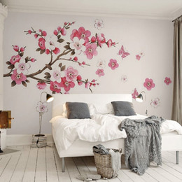Wholesale Wood Bark - 3D Stereo Wallpaper Hand Painted Simple Tree Abstract Bark Branch Color Plum Butterfly Bedroom TV Background Modern Wallpaper 3D