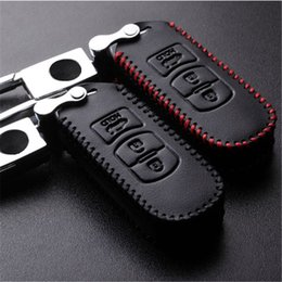 Wholesale Mazda Key Cover - Car Leather Remote Control Car Keychain Key Cover Case For Mazda CX4 CX5 CX7 M6 3Buttons Smart Key Metal Chain S14