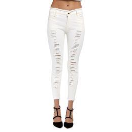 Wholesale Nymph Flies - Wholesale- NYMPH Black and White Women Ripped Denim Jeans Autumn High Waist Pants Street Skinny Slim Pockets Pencil Pants