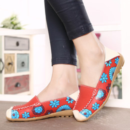 Wholesale Doug Shoes Women - 2017 Summer Flower Print Women Genuine Leather casual Shoes Woman Flat shoes Flexible Nurse Loafer Flats Doug shoes