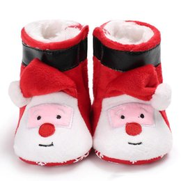 Wholesale Infant Boots For Boys - new arrival Baby warm Santa Claus boots infants Santa Claus'cap shoes Cute embroidery Xmas prewalkers for baby boys girls Newborns Xmas
