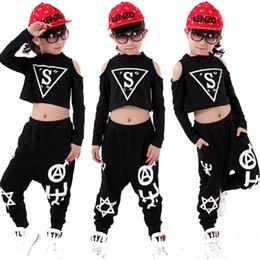 Wholesale Dance Costume Child Hip Hop - 20pcs lot Black Boys Girls Jazz Dance Costumes Kids Hip Hop Clothes Children Stage Ballroom Competition Hiphop Dance Wear