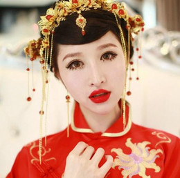 Wholesale Gold Coronet - Hot Coronet costume headdress bride ancient gold-plated jewelry styling hair accessories