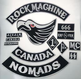 patchs biker rocker Promotion Original Rock Machine Moto Broderie Biker Patch Grand Badge Taille pour Dos Complet Du Veste De Fer Sur Gilet Rocker Patch Livraison Gratuite