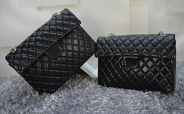 Wholesale Hw Fashion - Top Quality XXL Classial 33CM Maxi Quilted Chain Black Genuine Lambskin Leather Single Flaps Fashion Shoulder Chain Bag Gold   Silver Hw
