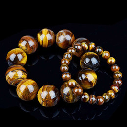 Wholesale tiger eye stone rings - AAAAA 8 10 12 14 16 18 20mm Natural Genuine Tiger Eye Stone Bracelet Handmade Stretch Strand Healing Yage Bracelets