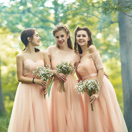 Wholesale Romantic Country Style - Romantic Country Forest Mixed Styles Bridesmaid Dresses A Line Blush Pink Chiffon Floor Length Maid of Honor Gowns Evening Prom Dresses