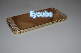 Wholesale Iphone Gold Middle Plate - Gold Mirror Gold Plated Frame Housing with top and bottom side crystal 24ct Gold Battery Bezel Middle Frame For Iphone 5s