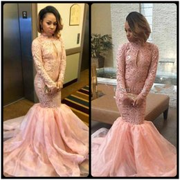 Wholesale Pale Pink Girls Dresses - Pale Pink Mermaid Prom Dresses 2018 High Neck Long Sleeves Lace Organza Custom Made Black Girls Party Dresses Plus Size Evening Gowns