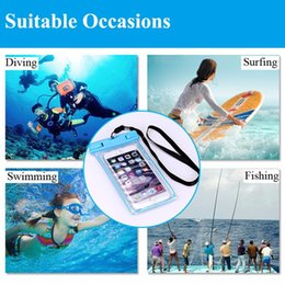 Wholesale Dry Camera Box - For 4inch-6inch phone Clear Waterproof Pouch Dry Case Cover for iPhone 4 5S 6 6S 7 7Plus Camera Mobile Phone Luminous Swimming Bags