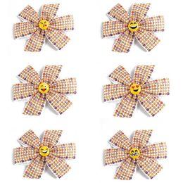 Wholesale Cross Barrette - Girls cross knot emoji printed bow hairpins Kids cute emoij button hairpins grosgrain ribbon 6inch bow hair pins cute hair accessory