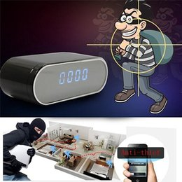 Wholesale Spy Home - WiFi Clock IP P2P Camera with night vision 160 degree Wide Angle alarm clock spy camera remote monitor home security Cam Nanny camera