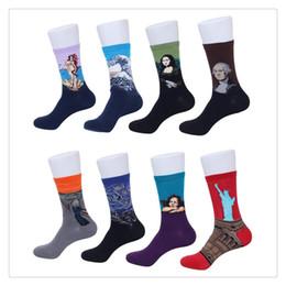 2016 Yeni Sıcak Ünlü Boyama Çorap Erkekler ve kadın Ünlü Boyama Sanat Desenli Rahat En Iyi Pamuk Spor Ekip Çorap nereden
