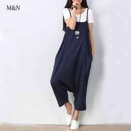 Wholesale Wholesale Female Rompers - Wholesale- 2015 Novelty Casual Female Pants Bottoms Loose Plus Size Capris Women Summer Harem Trousers Full Jumpsuit Woman Rompers
