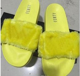 Wholesale Discount Pink Heels - (With Box+Dust Bag) Discount Leadcat Fenty Rihanna Shoes Women Slippers Indoor Sandals Girls Fashion Scuffs Pink Black White Grey Fur Slides
