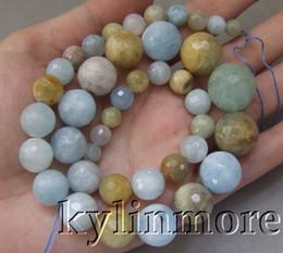 Wholesale Round Faceted Aquamarine Beads - 8SE10370 Aquamarine 6-18mm 17.5'' Faceted Round Beads
