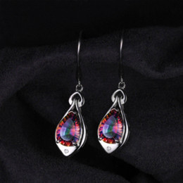 Wholesale Sterling Silver Mystic Topaz Earrings - Jewelrypalace Water Drop 6.8ct Rainbow Fire Mystic Topaz Dangle Earrings Pure 925 Sterling Silver New Fine Jewelry For Women