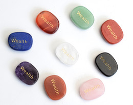 Wholesale Feng Shui Wealth - Set of 9 Chakra Stones Engraved Wealth Of Positive Word Palm Stones with a Free Pouch