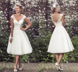 Wholesale Empire Knee Length Dress - Summer 2016 Short Wedding Dresses A-Line Knee Length Tulle V Neck Cap Sleeve Pearls 1950's Vintage Garden Beach Wedding Lace Bridal Gowns