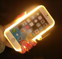 Wholesale Pink Photographs - Luminous Cell Phone Cases 6s Photograph LED Fill Light Selfile Mobile Phone Shell 5SE Cover Retail Package 6 Colors