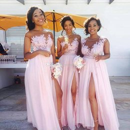 Wholesale Flowy Floor Length Dress - .Flowy Chiffon Pink Long Bridesmaid Dresses Sheer Neck Cap Sleeves Appliqued Illusion Bodice Sexy Split Summer Black Women Maid Of Honor