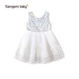 Wholesale Knee Length Silk Wedding Dress - 2017 baby girls dress sleeveless babies lace tutu skirts kids wedding dress with bowknow toddler child deep V neck sequin prom party dresses