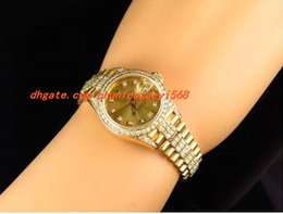 Wholesale Excellent Ladies Watches - Fashion Luxury Wristwatch Excellent Ladies 27MM 18k Yellow Gold Diamond Watch Automatic Watch Watches