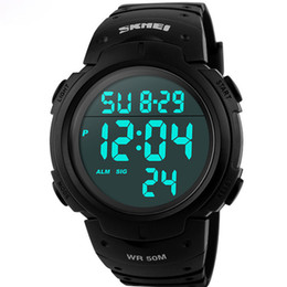 Wholesale Skmei White Silicone - Skmei Luxury Brand Mens Sports Watches Dive 50m Digital LED Military Watch Men Fashion Casual Electronics Wristwatches Hot Clock